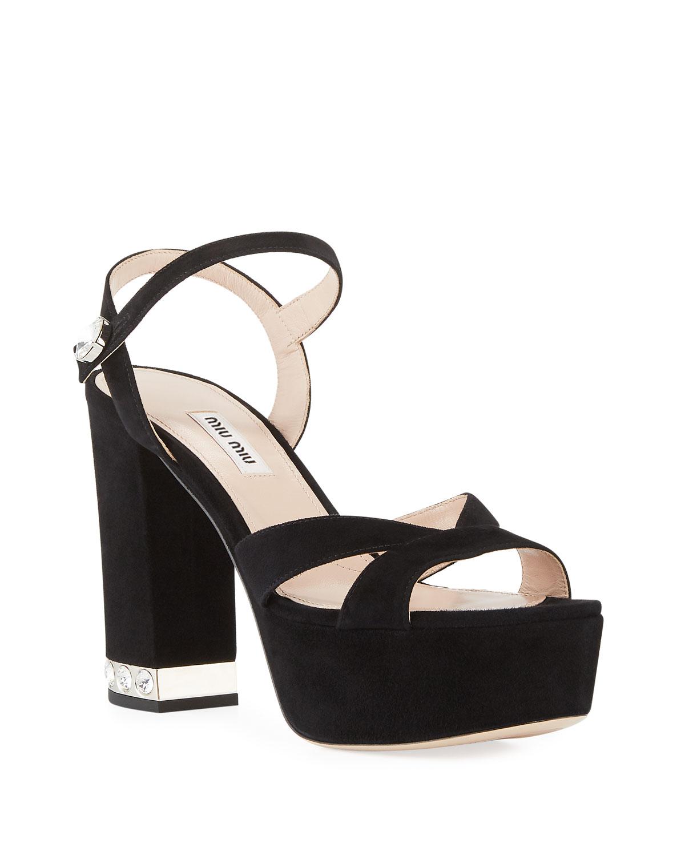 b7d14f441d4 Miu Miu Suede Chunky-Heel Platform Sandal