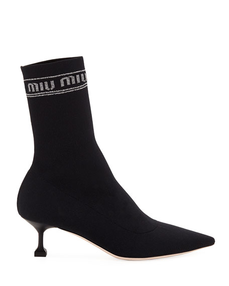 Tech Knit Pointed-Toe Sock Booties