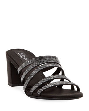 4ca239e83486fb Pedro Garcia Xaki Multi-Strap Block-Heel Shimmer Slide Sandal