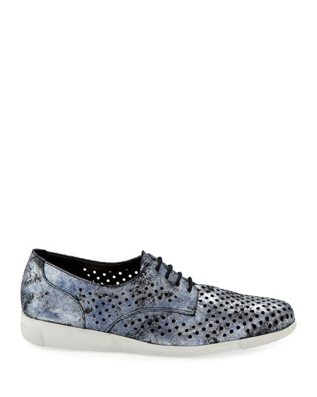 Dira Perforated Lace-Up Sneakers, Blue Moon