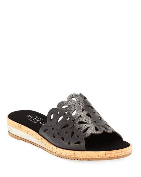 Sesto Meucci Senna Floral-Cut Leather Slide Sandal