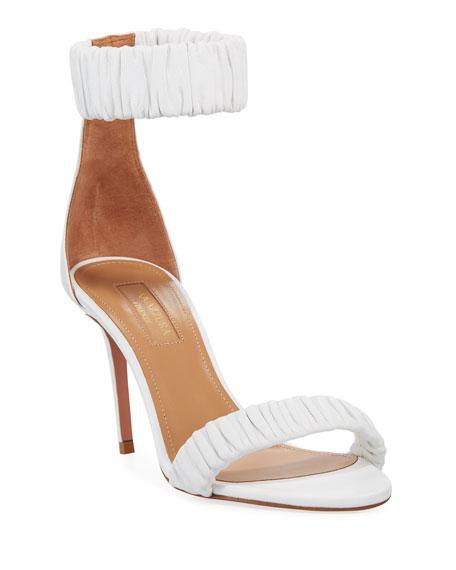 Aquazzura Liberty Mid-Heel Napa Ankle-Wrap Sandal