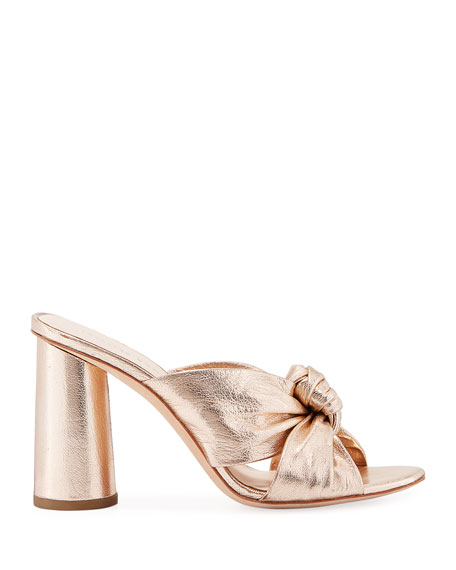 Coco Metallic Leather Knot Slide Sandal