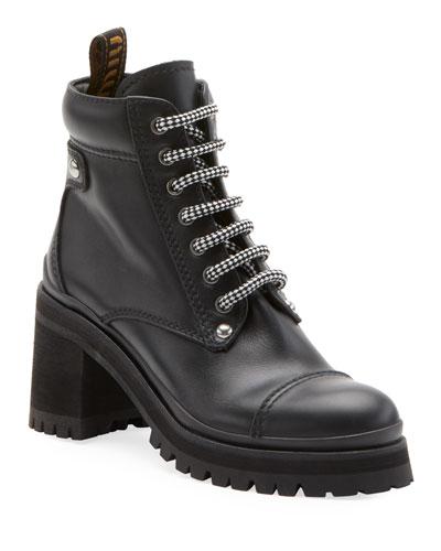 Leather Platform Hiker Boots