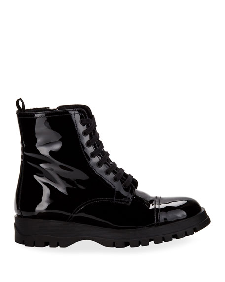 Prada Patent Leather Lace-Up Boot
