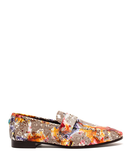 Image 2 of 4: Flaneur Watercolor Lizard Flat Loafers