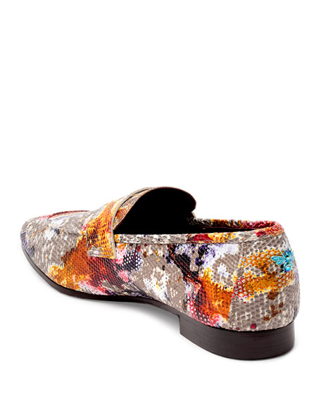 Image 3 of 4: Flaneur Watercolor Lizard Flat Loafers