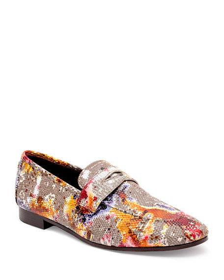 Image 1 of 4: Flaneur Watercolor Lizard Flat Loafers
