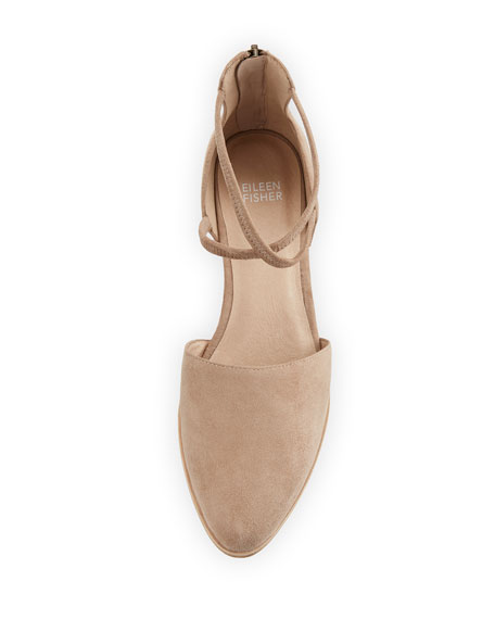 Lyton Suede Low-Heel Ankle-Wrap Flats