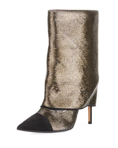 Bicolor Sleeve Glitter Mid-Calf Boot