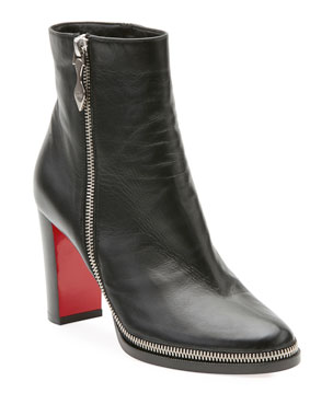 df52bfb21 Christian Louboutin Telezip Crinkled Leather Red Sole Ankle Boots