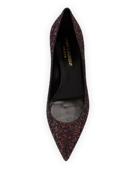 Saint Laurent Charlotte Glitter Point-toe Kitten-Heel Pumps
