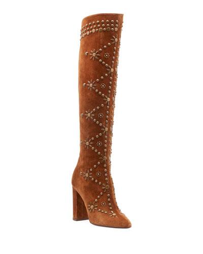 Ella Studded Suede Knee Boot