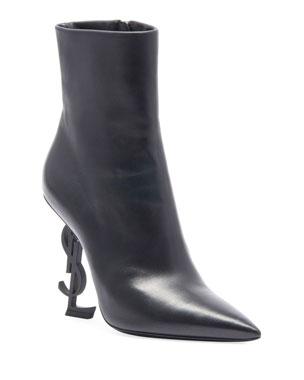 456bf0ca3a33 Saint Laurent Opyum Leather Booties with Monogram YSL Heel