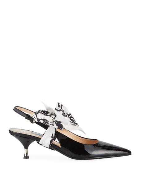 Patent Slingback Pump with Tie