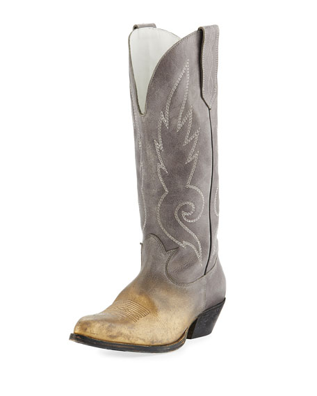 Golden Goose Kidman Two-Tone Metallic Cowboy Boot | Neiman Marcus