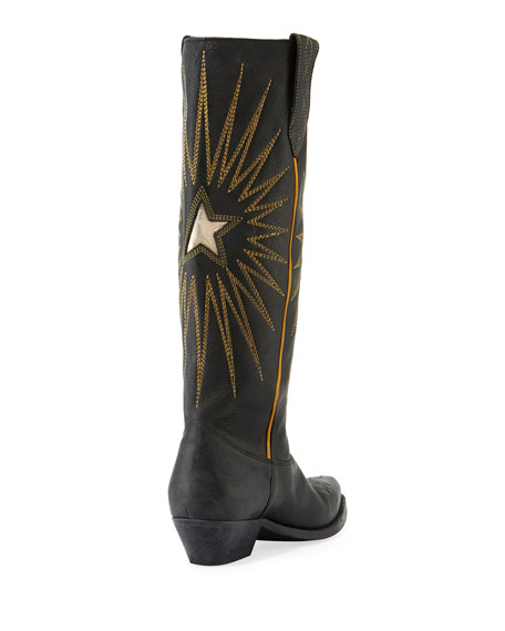 Wish Star Leather Cowboy Knee Boot