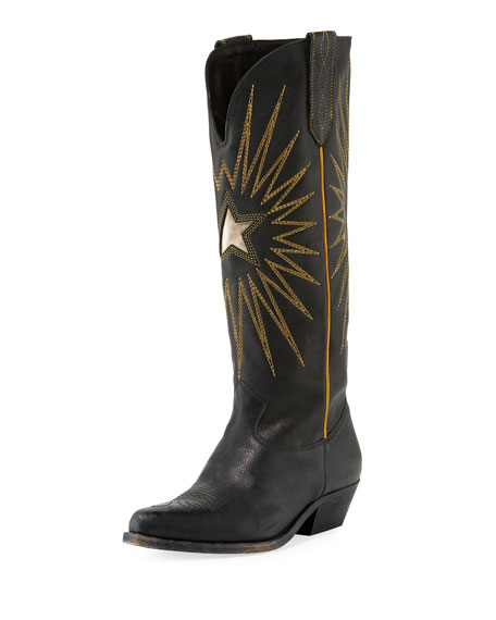 Wish Star Distressed Leather Knee Boots - Black Size 5