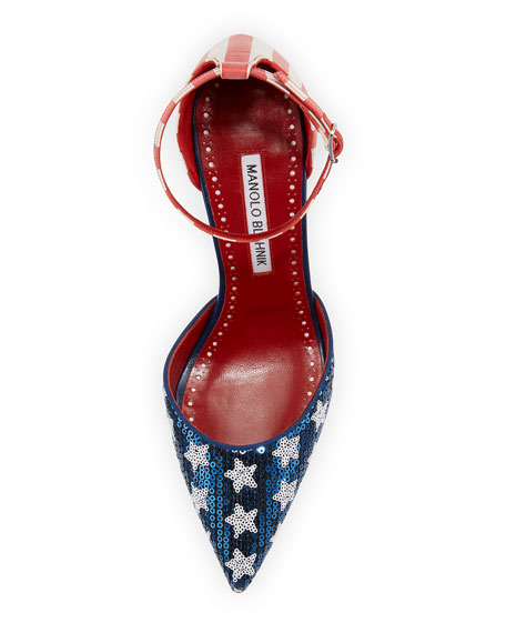 Zaka Stars & Stripes Sequin Ankle-Strap Pump