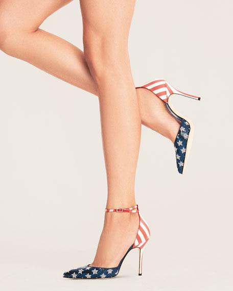 Manolo Blahnik Zaka Stars & Stripes Sequin Ankle-Strap Pumps