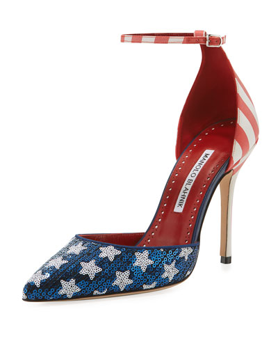 Zaka Stars & Stripes Sequin Ankle-Strap Pumps