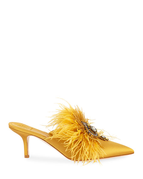 Elodie Feather Embellished Satin Mule