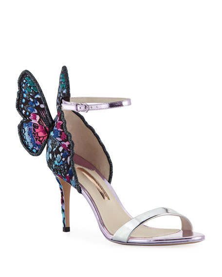 Sophia Webster Chiara Embroidered Butterfly Satin Sandal