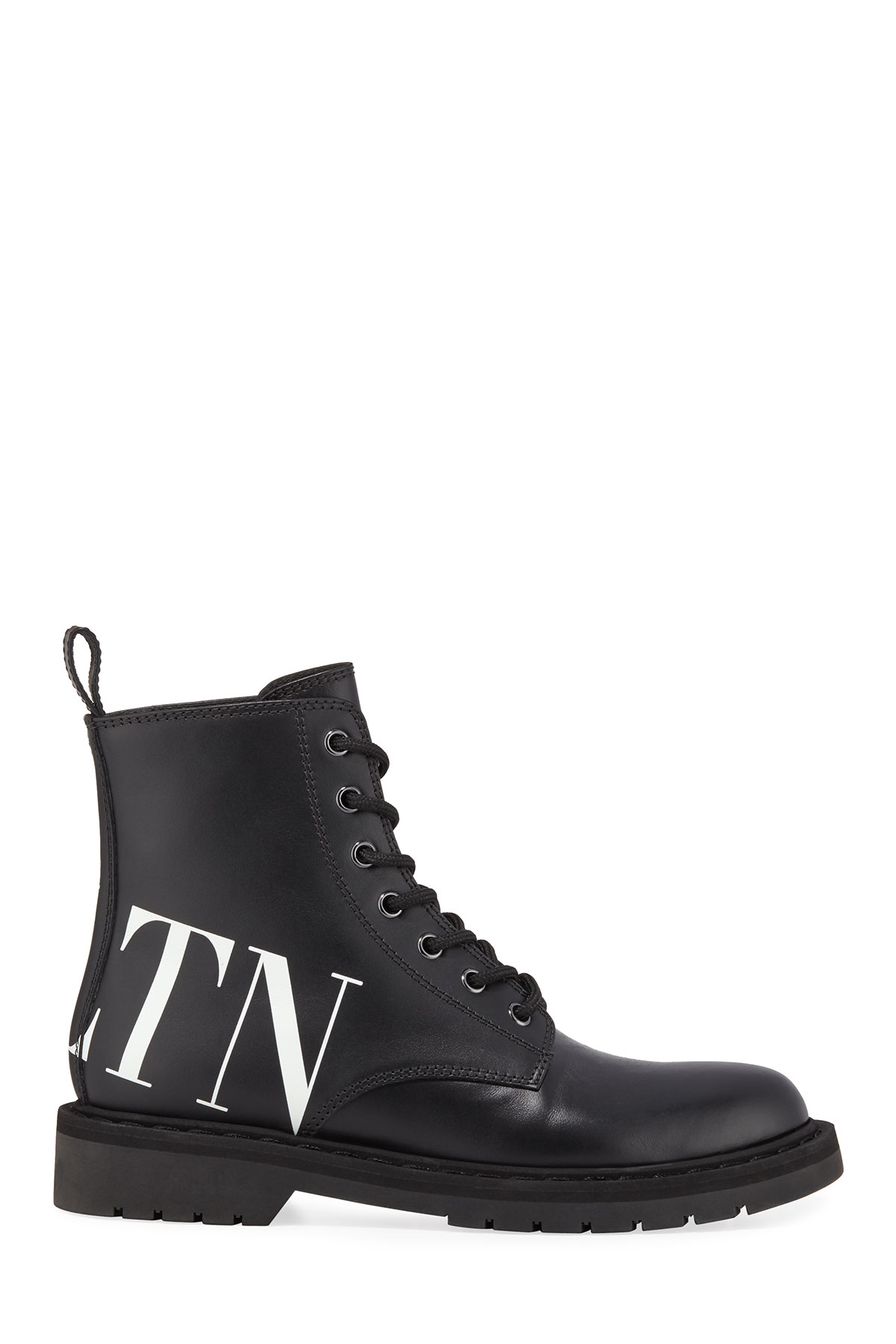 75fc1e29d2011 Valentino Garavani VLTN Leather Combat Boots