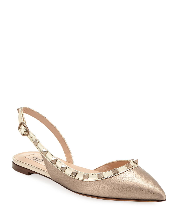 88b6f716c300 Valentino Garavani Rockstud Metallic Leather Slingback Ballet Flats ...