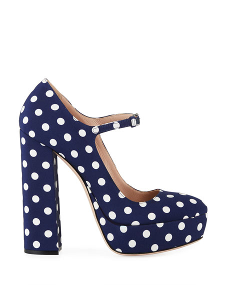 Image 2 of 3: Miu Miu 135mm Polka-Dot Canvas Platform Mary Jane Pumps