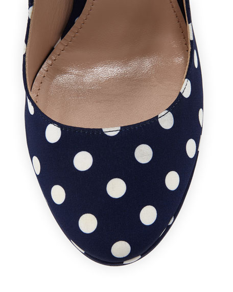 Image 3 of 3: Miu Miu 135mm Polka-Dot Canvas Platform Mary Jane Pumps