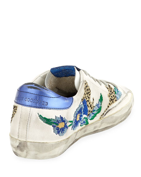 Superstar Floral Embellished Leather Low-Top Sneakers