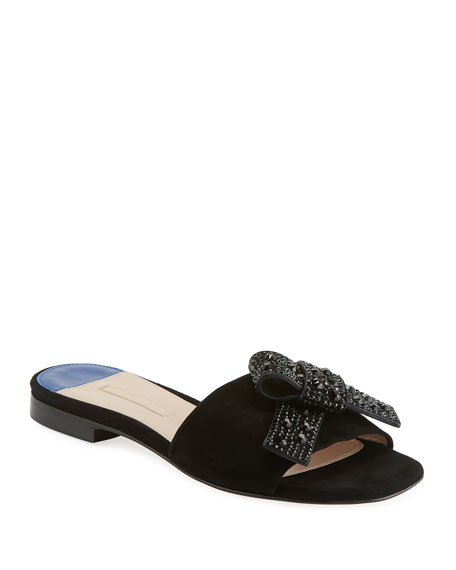 Milky Way Flat Suede Slide Sandals