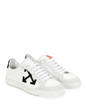 bfca1a072 Off-White Carryover Leather/Suede Lace-Up Low-Top Sneakers