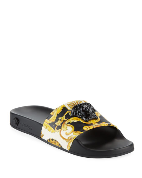 Palazzo Medusa Pool Slide Sandals, Black/Gold