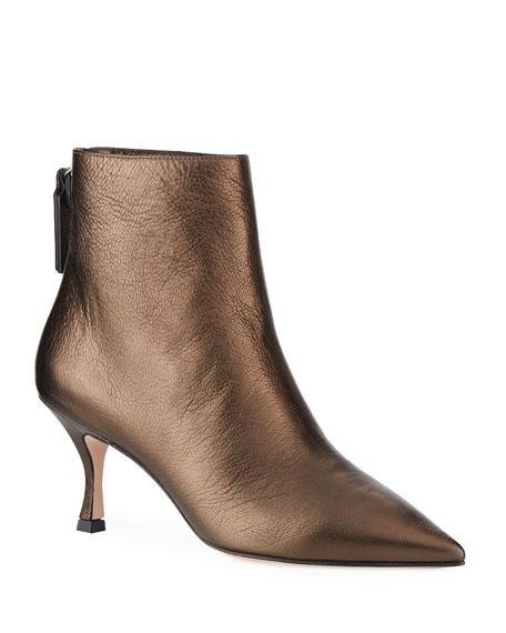 Juniper Metallic Leather Mid-Heel Booties
