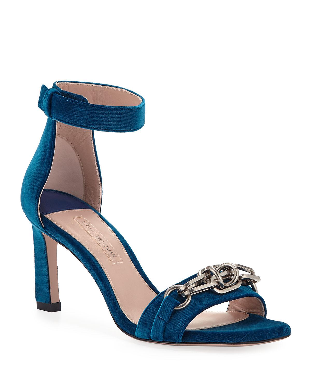 8920fc519f5a Stuart Weitzman Link 75mm Velvet Chain Sandals