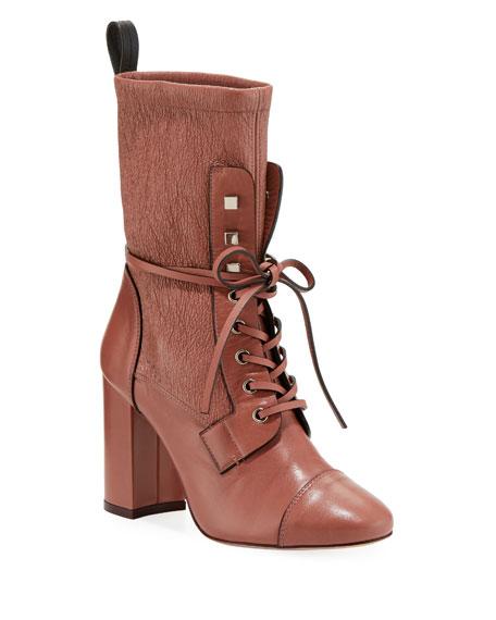 Stuart Weitzman Veruka Leather Combat Sock Bootie