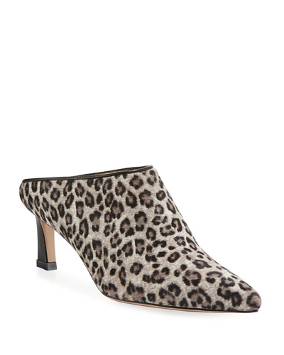 Mira Leopard Kitten-Heel Point-Toe Mule