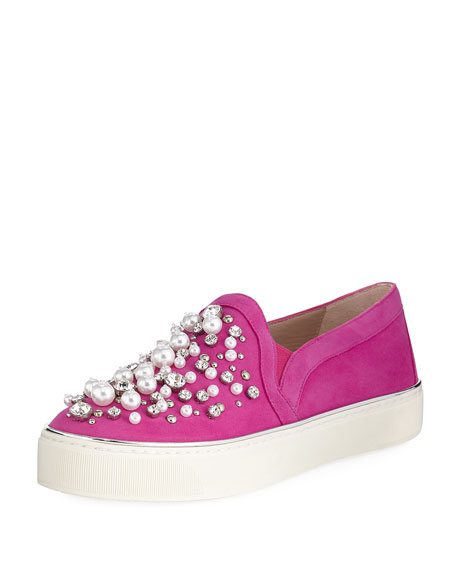 Stuart Weitzman Decor Suede Embellished Sneakers