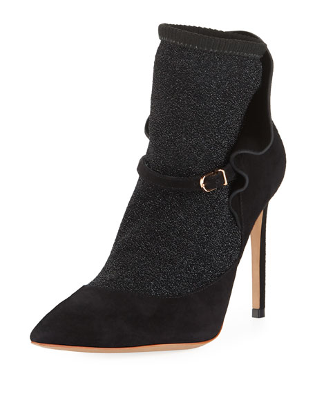 Sophia Webster Lucia Suede Ankle Sock Booties