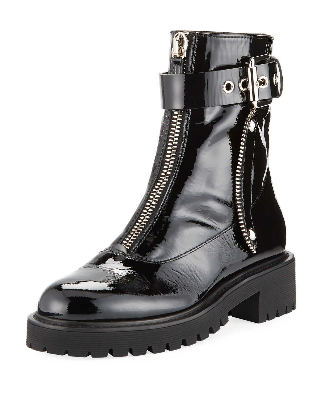 35848027f063b Giuseppe Zanotti Patent Leather Front-Zip Combat Boots | Neiman Marcus