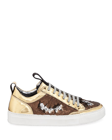 Image 3 of 6: Soho Mixed Media Low-Top Sneakers with Sequins