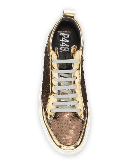 P448 Soho Mixed Media Low-Top Sneakers with Sequins