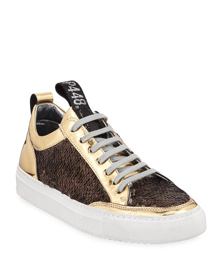 Image 1 of 6: Soho Mixed Media Low-Top Sneakers with Sequins
