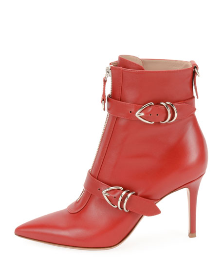 Napa Buckled Zip-Front Ankle Booties, Red