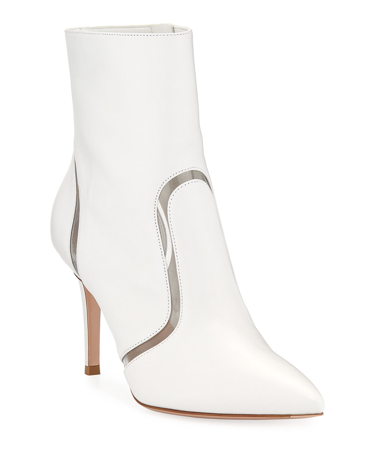 Gianvito Rossi & Leather & Rossi Vinyl Point-Toe Booties c9ac2d
