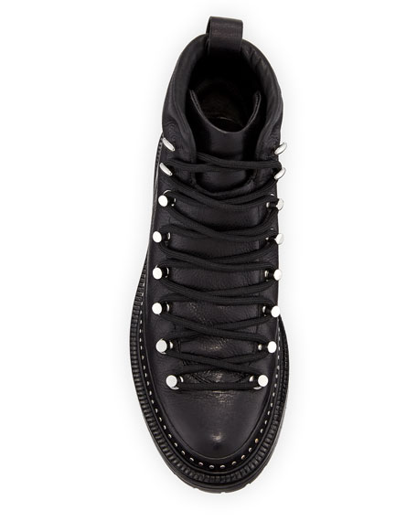 Compass Studded Leather Hiker Boots