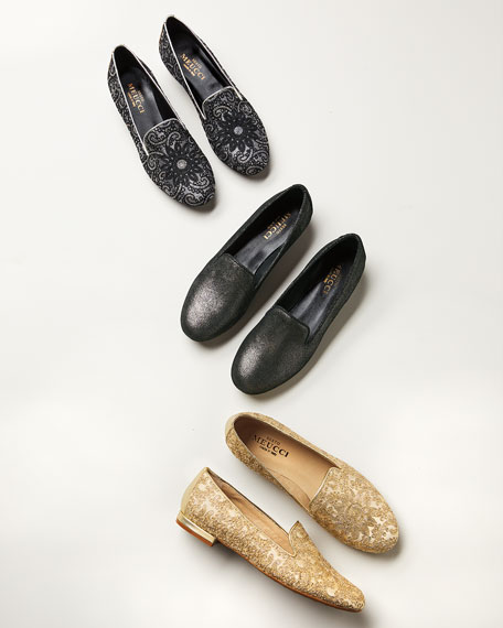 Image 2 of 4: Sesto Meucci Kama Embellished Flat Loafers, Gray