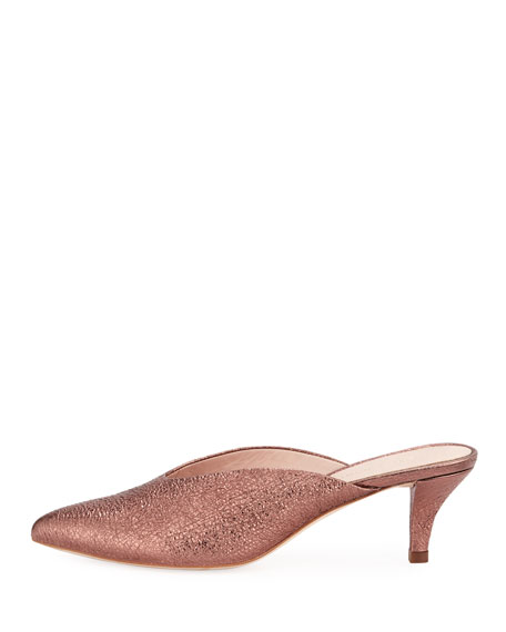 Juno Metallic Kitten-Heel Mule Slide